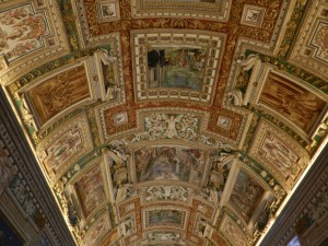 Ceiling in one of the halls inside the Vatican Museum, taken 2012 by Martha Wiggins