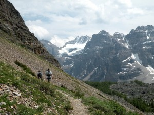 My sons hiking above The Valley of Ten Peaks, Banff National Park, Canada, 2010, taken by Martha Wiggins