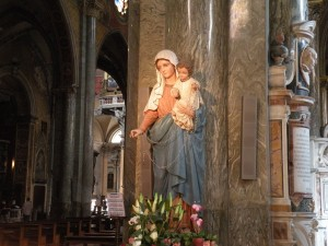 Statue of Mary at Basilica Santa Maria sopra Minerva, Rome, Italy, (Basilica of St. Mary over Minerva) taken 2011