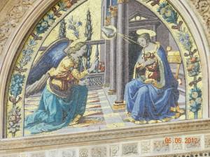Annunciation mosaic on the facade of the Duomo, The Basilica di Santa Maria del Fiore, Florence, Italy, 2012, taken by Martha M Wiggins